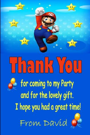 Personalised Super Mario Thank You Cards - Design 2